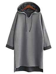 Fall Winter Women Plus Size Casual Daily Hoodies Solid Gray Hooded Long Sleeve Sweater