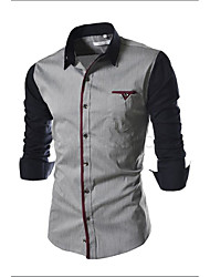 Men's Going out / Formal / Work Simple / Cute / Street chic All Seasons Shirt,Solid / Color Block Shirt Collar Long Sleeve Black / Gray