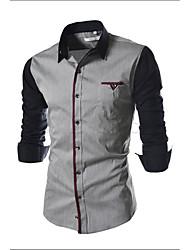 Masculino Camisa Trabalho / Informal / Formal Simples / Fofo / Moda de Rua Todas as Estações,Sólido / Colorido Preto / Cinza Algodão