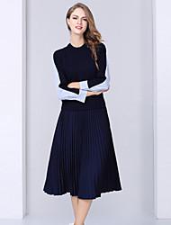 Set Jupe Costumes Femme,Rayé Décontracté / Quotidien simple Automne Manches Longues Col Arrondi Bleu Polyester