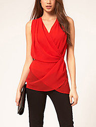 Women's Going out / Casual/Daily Simple / Street chic All Seasons Shirt,Solid V Neck ¾ Sleeve White / Black / Orange Polyester Thin