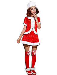 Festival/Holiday Halloween Costumes Red Solid Top / Skirt / Hats Christmas Female