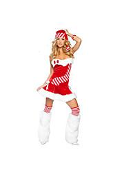 Costumes de Cosplay Costumes de père noël Fête / Célébration Déguisement Halloween Rouge Couleur PleineJupe / Chapeau / Plus