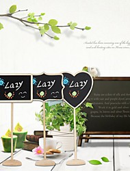 12pcs/Lot 3Type Rectangle Heart Shape Blackboards Message Number Tag Wooden Chalkboard Backboard Wedding Decoration Party Supply
