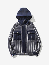 Men's Going out Simple Denim Jackets,Striped Long Sleeve White Cotton