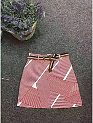 Women's A Line Solid Skirts,Going out Mid Rise Above Knee Button Polyester Micro-elastic All Seasons