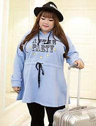 KELIXUAN Women's Plus Size / Casual/Daily Cute Sheath DressSolid Hooded Above Knee Long Sleeve Blue Cotton Winter High Rise Inelastic Medium