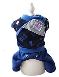 Dog Clothes/Jumpsuit Blue / Gray Dog Clothes Winter / Spring/Fall Letter & Number Keep Warm