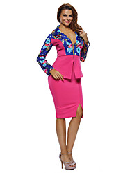 Women's Long Sleeves Floral Print Jacket Skirt Set