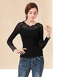 Tee-shirt Femme,Couleur Pleine Décontracté / Quotidien simple Automne / Hiver Manches Longues Col Arrondi Noir Nylon / Spandex
