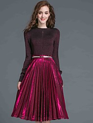 Women's Casual/Daily Simple Fall / Winter Skirt Suits,Solid Round Neck Long Sleeve Red Cotton / Polyester