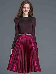 Jupe Costumes Femme,Couleur Pleine Décontracté / Quotidien simple Automne / Hiver Manches Longues Col Arrondi Rouge Coton / Polyester