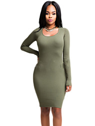 Women's Casual/Daily / Club Solid / Simple Backless Cut Out Slim Bodycon DressSolid Round Neck Above Knee Long Sleeve Spring / FallMid
