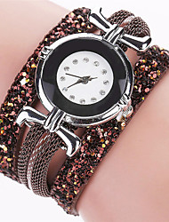 Women's Bracelet Quartz Personality Diamond PU Cool Unqiue Watches Round Alloy Dial Originality Casual Fashion Watch
