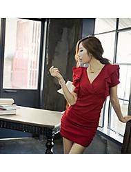 Women's Club Sexy Bodycon / Sheath Dress,Solid V Neck Mini Short Sleeve Red / Black Modal Summer Low Rise Micro-elastic Medium