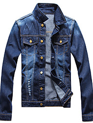 Men's Plus Size / Casual/Daily / Club Simple / Cute / Street chic Denim Jackets,Solid Stand Long Sleeve Fall / Winter Blue Cotton Medium