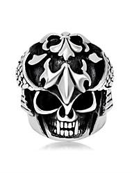Ringe Ohne Stein Halloween / Party Schmuck Titanstahl Herren Ring 1 Stück,15 Schwarz / Silber