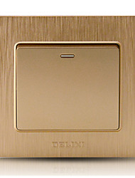 West Switch Socket Champagne Gold Drawing Panel Open Single - Control Fluorescent Switch