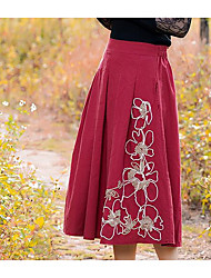 Women's Pencil Solid Skirts,Casual/Daily Low Rise Midi Zipper Cotton Micro-elastic Fall