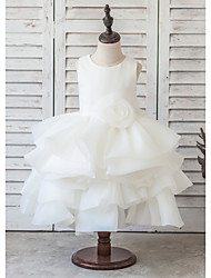 Princess Knee-length Flower Girl Dress - Organza / Satin Sleeveless Scoop with Bow(s) / Pick Up Skirt