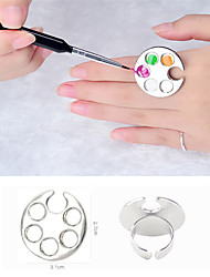 1pc Mini Nail Art Metal Finger Ring Palette Mixing Acrylic UV Gel Polish Painting Drawing Color Paint Dish