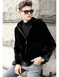 Men's Casual/Daily Vintage Leather Jackets,Solid Stand Long Sleeve Winter White / Black Faux Fur Medium