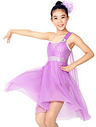 Ballet Dresses Women's / Children's Performance Spandex / Polyester / Sequined Flower(s) / Sequins / Splicing 2 Pieces Sleeveless Natural