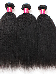 Kinky Straight Hair 7A Brazilian Hair Weave Bundles Yaki Straight Human Hair Extensions 3Pieces Lot Brazilian Virgin Hair Extensions