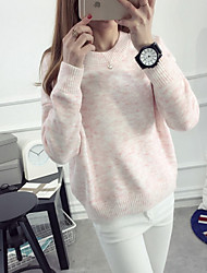 Damen Standard Pullover-Lässig/Alltäglich Niedlich Solide Mehrfarbig Rundhalsausschnitt Langarm Kaninchen-Pelz Herbst Mittel