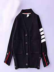 Unisex Casual/Daily Striped Suit & Blazer,Cotton Fall Long Sleeve
