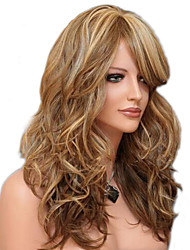 Long Body Wave Fluffy Side Bang Synthetic Wigs Mix Beige Brown Heat Resistant Wig