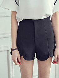 Women's High Rise Micro-elastic Shorts Pants,Simple Slim Solid