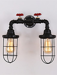 2 Heads Retro Industrial Pipe Wall Lights Simple Loft Black Birdcage Metal Dining Room Kitchen Bar Cafe Decoration lighting