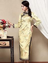 Feminino Bainha Vestido,Casual Temática Asiática Jacquard Colarinho Chinês Médio Manga Longa Amarelo Seda Outono Cintura Média