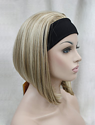 nueva moda 3/4 peluca con recta corta media peluca sintética de la venda de la mujer