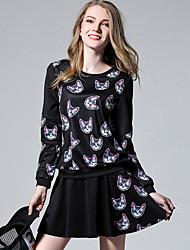 Damen Druck Einfach Lässig/Alltäglich / Übergröße T-shirt Rock Anzüge,Rundhalsausschnitt Herbst / Winter Langarm Schwarz Polyester