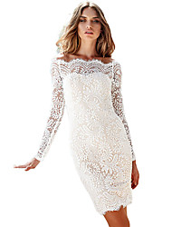 Women's Bodycon Off-shoulder Long Sleeve Lace Dress