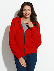 Simple Regular Cardigan,Solid Pink Red Black Hooded Long Sleeve Cotton Spring Medium Inelastic
