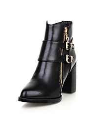 Women's Zipper Pointed Closed Toe High Heels Pu Solid Boots