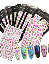 Nail Art 3D Nail Foil Stickers Decals Shining Gold Pink Nail Decoration Tips Mixed Design Nail Sticker MD401-410P