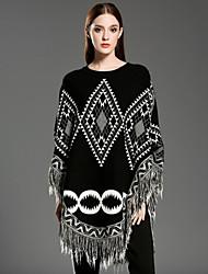 Damen Standard Mantel / Capes-Lässig/Alltäglich Retro Geometrisch Weiß Schwarz Rundhalsausschnitt Ärmellos Wolle Acryl Winter Mittel