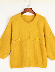 Women's Going out Cute Regular Cardigan,Cotton / Polyester Spring / Fall