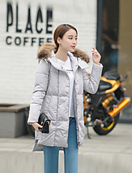 Women's Down Coat,Simple Casual/Daily Solid-Cotton / PolyesterWhite Duck Down / Gray Duck Down / White Goose Down / Gray Goose Down /
