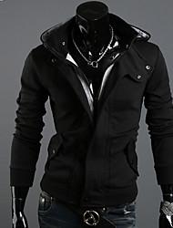 Normal Hoodies Hommes Décontracté / Quotidien simple / Actif / Punk & Gothique,Couleur Pleine Noir / Gris Capuche Manches LonguesCoton /