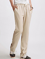 Men's Mid Rise Micro-elastic Chinos Pants,Simple Slim Solid