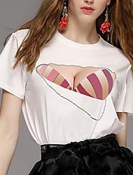 T-shirt Da donna Per uscire SempliceFantasia geometrica Rotonda Cotone Manica corta