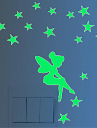 Luminous Wall Post Fairy And Stars Glow Fluorescent Christmas Wall Stick Simpson 10*8CM