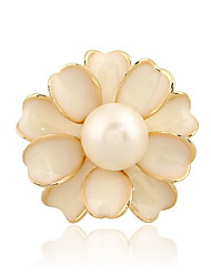 Korean Woman Alloy White Flower Camellia Pearl Brooch
