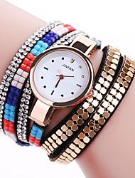 Women's Fashion Watch Wrist watch Bracelet Watch Punk Colorful Imitation Diamond Quartz PU Band Sparkle Bohemian Charm Bangle Casual