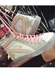 Damen-Sneaker-Lässig-LederKomfort-Schwarz / Rosa / Orange